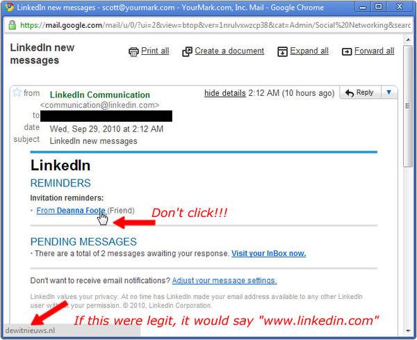 Linkedin spam scam
